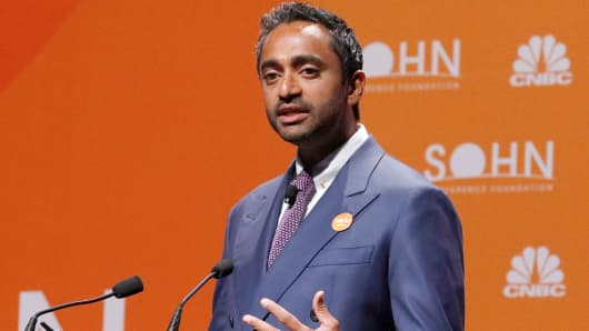 Chamath Palihapitaya speaking at the 23rd Annual Sohn Investment Conference in New York City on April 23, 2018.