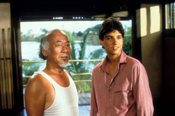 Pat Morita and Ralph Macchio in a scene from the film 'The Karate Kid', 1984,