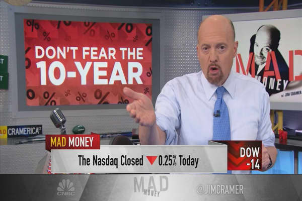 Cramer argues the trade war is more worrisome than 10-year Treasury yields approaching 3%
