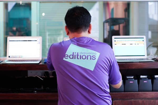 Rider trials the site for Deliveroo's new Editions site in Lavender, Singapore