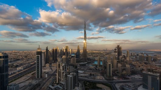 A General view of Dubai Downtown at Sunset on December 10, 2016 in Dubai, United Arab Emirates.