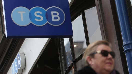 A pedestrian walks past a TSB bank branch in London.