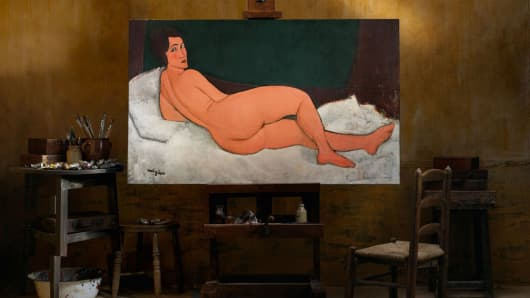 "A painting "" Nu couche "" by Italian artist Amedeo Modigliani."