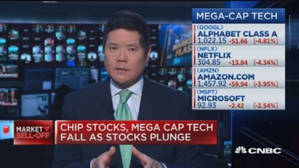 Chip stocks, mega cap tech fall as stocks plunge