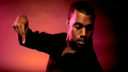 """Kanye West in a still from the """"Gold Digger"""" video"""