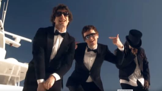 "The Lonely Island performing ""I'm On A Boat."""