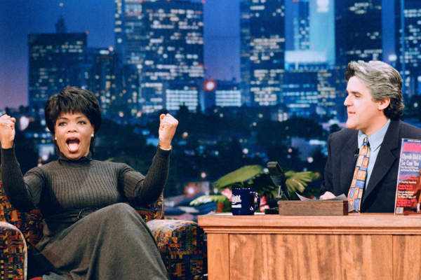 Talk show host Oprah Winfrey during an interview with host Jay Leno on February 3, 1995.