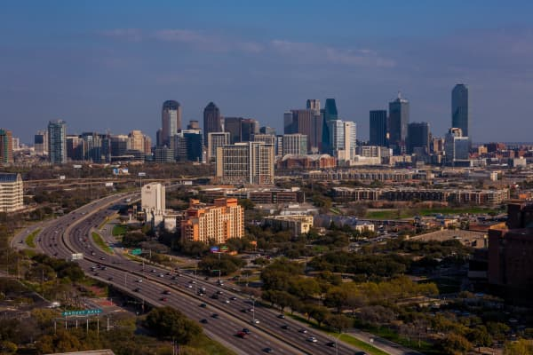 The downtown skyline is viewed from the Renaissance Hotel off Stemmons Highway on March 20, 2013 in Dallas, Texas.