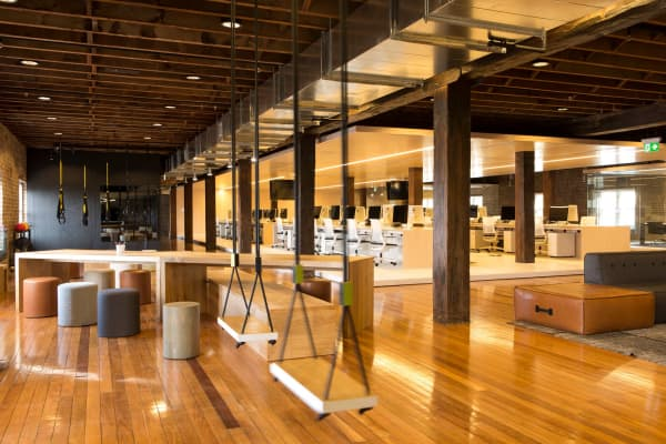 Swings break up the work space in Ansarada's Sydney headquarters
