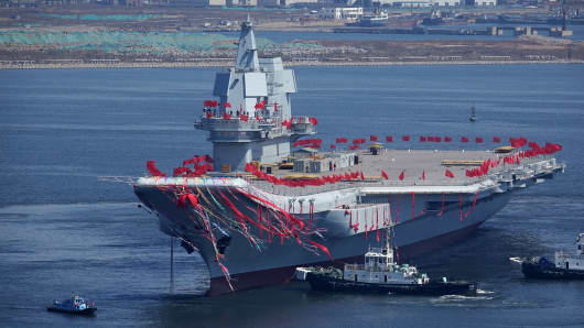 Type 001A, China's second aircraft carrier, is seen during a launch ceremony at a shipyard in Dalian on April 26, 2017.