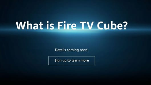 "An advert on Amazon's website asks, ""What is Fire TV Cube?"". People can sign up for updates on the long-rumored produc.t"