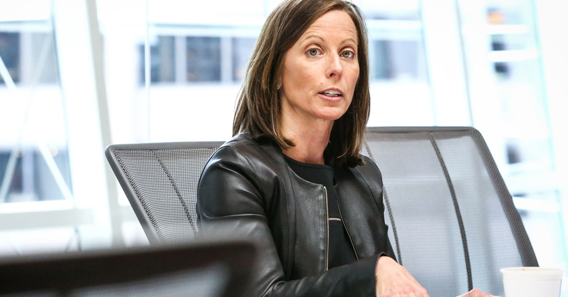 Adena Friedman, chief executive officer of Nasdaq, speaks during an interview in New York.
