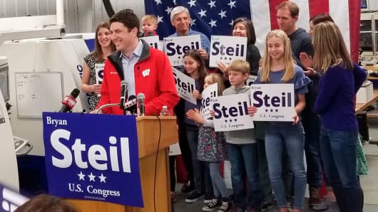 Attorney Bryan Steil, a former driver for House Speaker Paul Ryan, announces he is running to succeed Ryan in Congress, Sunday, April 22, 2018, in Janesville, Wis.