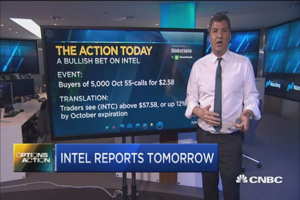 Intel reports earnings tomorrow, and options traders are bullish on the chip stock
