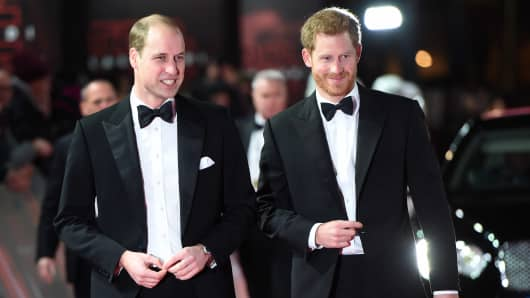 Prince William, Duke of Cambridge and Prince Harry attend the European Premiere of 'Star Wars: The Last Jedi' at Royal Albert Hall on December 12, 2017