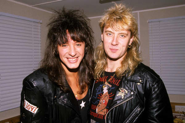 Bon Jovi in Concert - File Photo's - Circa 1989 Richie Sambora of Bon Jovi and Joe Elliot of Def Leppard