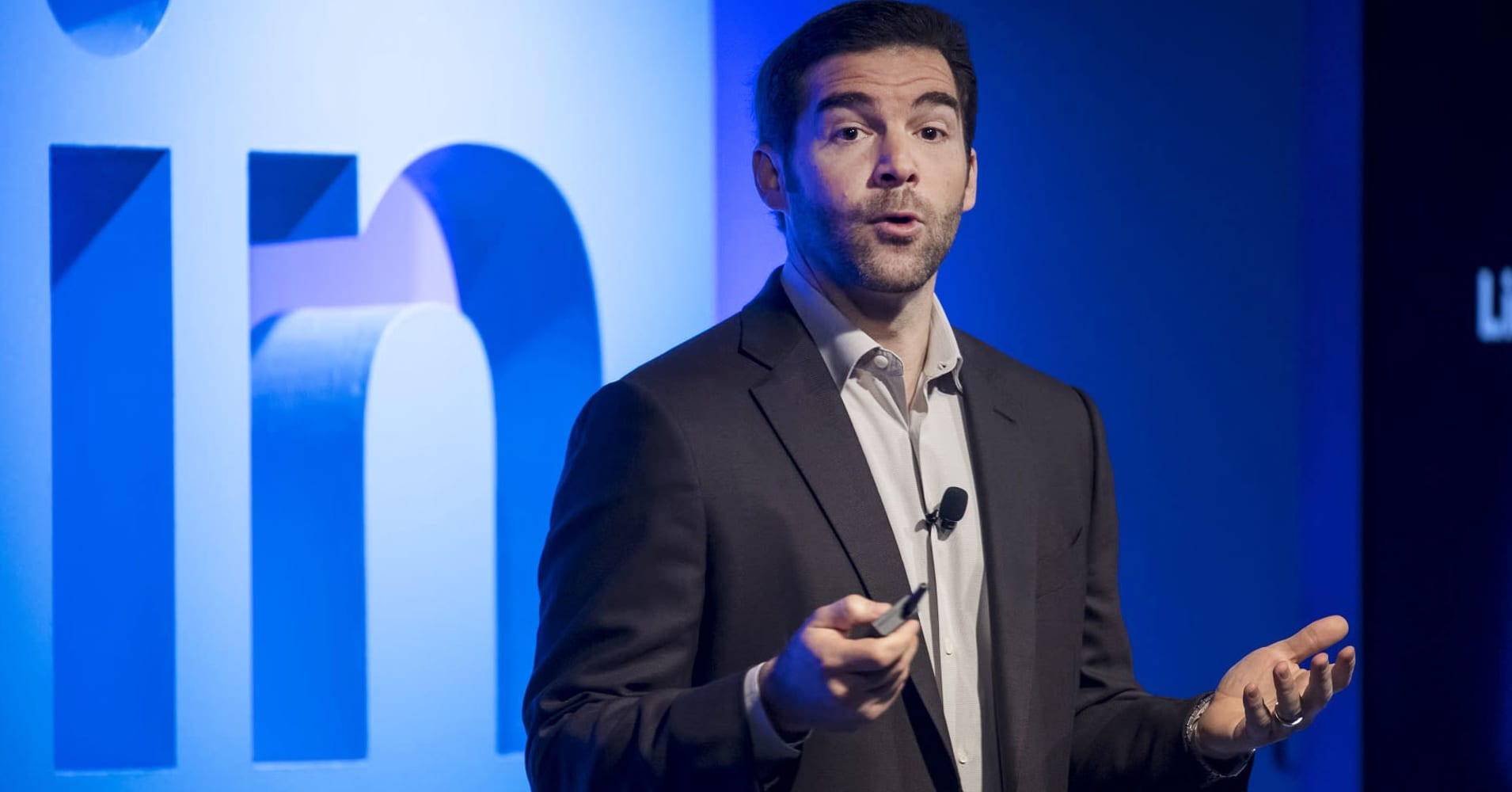 Jeffrey 'Jeff' Weiner, chief executive officer of LinkedIn Corp., speaks during an event at the company's headquarters in San Francisco, California, U.S., on Thursday, Sept. 22, 2016.
