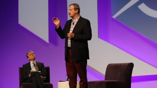 Vicente Fox on stage at eMerge, April 23, 2018.
