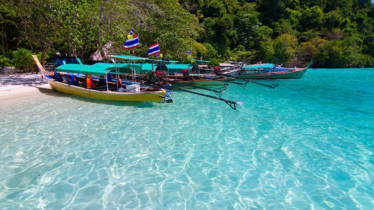 Longtail boats in Surin Island, Thailand.