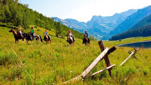 Horseback riding the backcountry near Vail, Colorado.