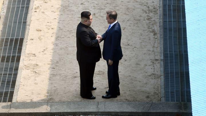North Korean leader Kim Jong Un and South Korean President Moon Jae-in shake hands at the Inter-Korean Summit April 27, 2018 in Panmunjom, South Korea.