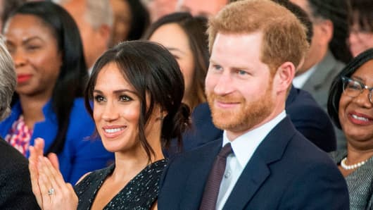 Britain's Prince Harry, with his US fiancee Meghan Markle.