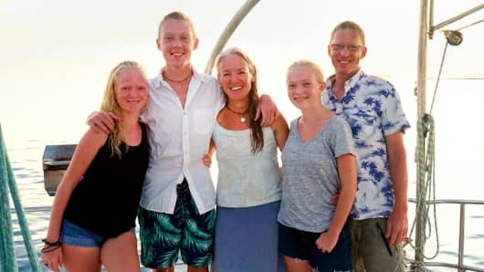 The Gifford family on board Totem in Bonaire in 2017.