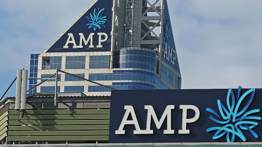 The AMP logo is seen on the AMP building in Melbourne, Australia.