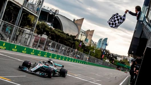 Mercedes' British driver Lewis Hamilton wins the Formula One Azerbaijan Grand Prix at the Baku City Circuit in Baku on April 29, 2018.