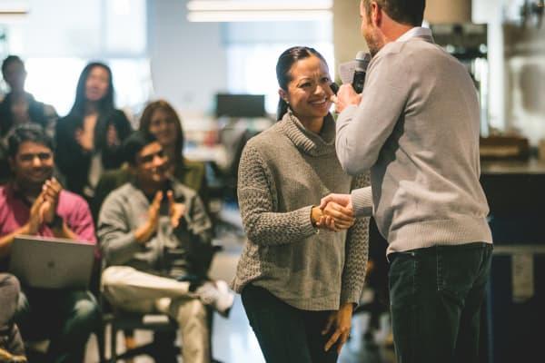 Zuora employee Gail Jimenez receiving the Z-Awesome Award