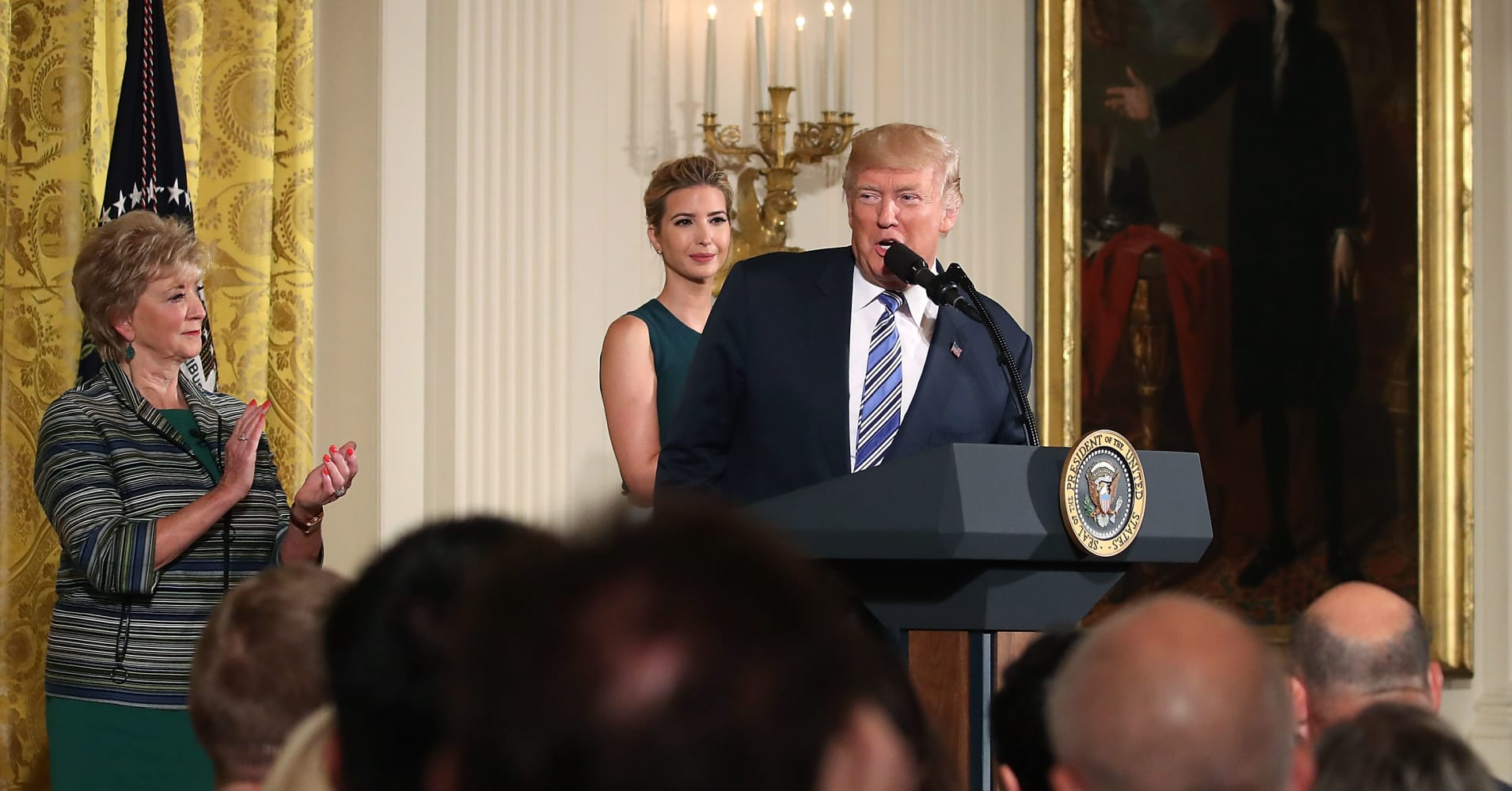 U.S President Donald Trump speaks about small businesses while flanked by daughter and advisor to the President Ivanka Trump and U.S Small Business Administrator Linda McMahon