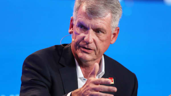 Tim Sloan, CEO and President, Wells Fargo & Co., speaks at the Milken Institute's 21st Global Conference in Beverly Hills, California, April 30, 2018.