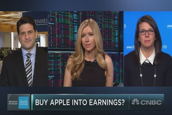 Apple is down 10 percent from its March highs. Should investors be cautious into earnings?