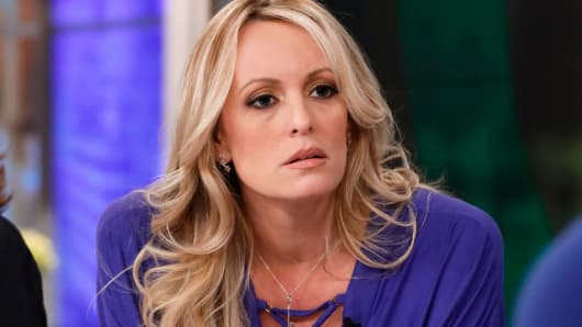 Stormy Daniels sits for a televison interview on April 17, 2018.