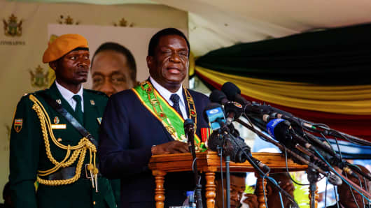 Zimbabwean President Emmerson Mnangagwa delivers a speech during Independence Day celebrations at the National Sports Stadium on April 18, 2018, in the capital Harare.