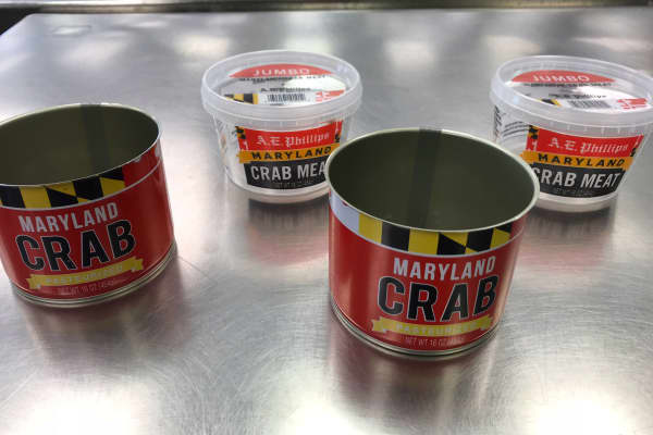 Empty cans sit on a table at A.E. Phillips as they do not have crab pickers this season.