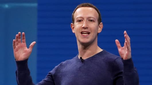 Facebook CEO Mark Zuckerberg speaks during the F8 Facebook Developers conference on May 1, 2018 in San Jose, California.