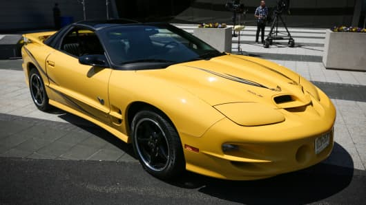 A 2002 Pontiac Trans Am 35th Anniversary Collectors Edition on display at CNBC headquarters in Englewood Cliffs, NJ.