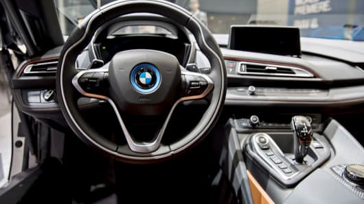 he steering wheel of a Bayerische Motoren Werke AG (BMW) i8 plug-in coupe vehicle is seen during the 2018 North American International Auto Show (NAIAS) in Detroit, Michigan