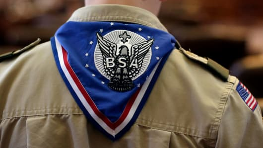 A Boy Scout wears an Eagle Scot neckerchief during the annual Boy Scouts Parade and Report to State in the House Chambers at the Texas State Capitol.