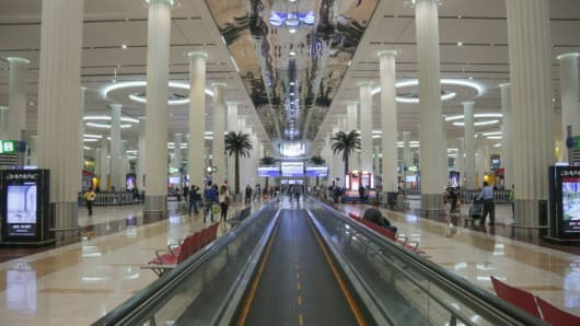 Dubai International Airport, the largest airport in space in the world and busiest airport by international passenger traffic. It is also the 3rd busiest airport in