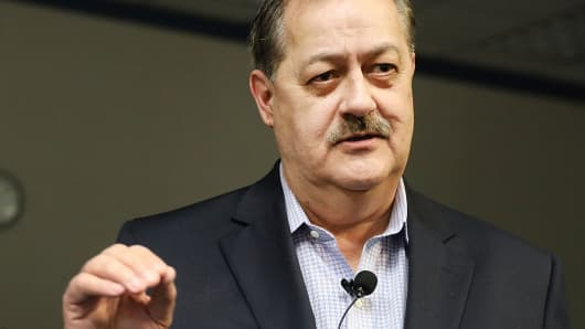 Republican candidate for U.S. Senate Don Blankenship speaks at a town hall meeting at West Virginia University on March 1, 2018 in Morgantown, West Virginia.
