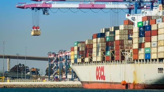 Cargo ship at the Long Beach Container Terminal at the Port of Long Beach in Long Beach, California.