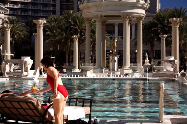 Swimming pool at Caesars Palace. Las Vegas, Nevada.