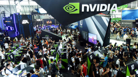 Visitors crowd around the Nvidia booth at the 2016 China Digital Entertainment Expo, known as ChinaJoy, in Shanghai.