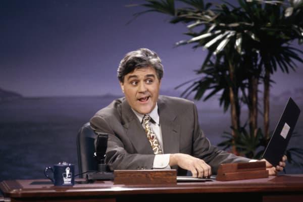 Host Jay Leno during 'Headlines' segment on June 8, 1992 .