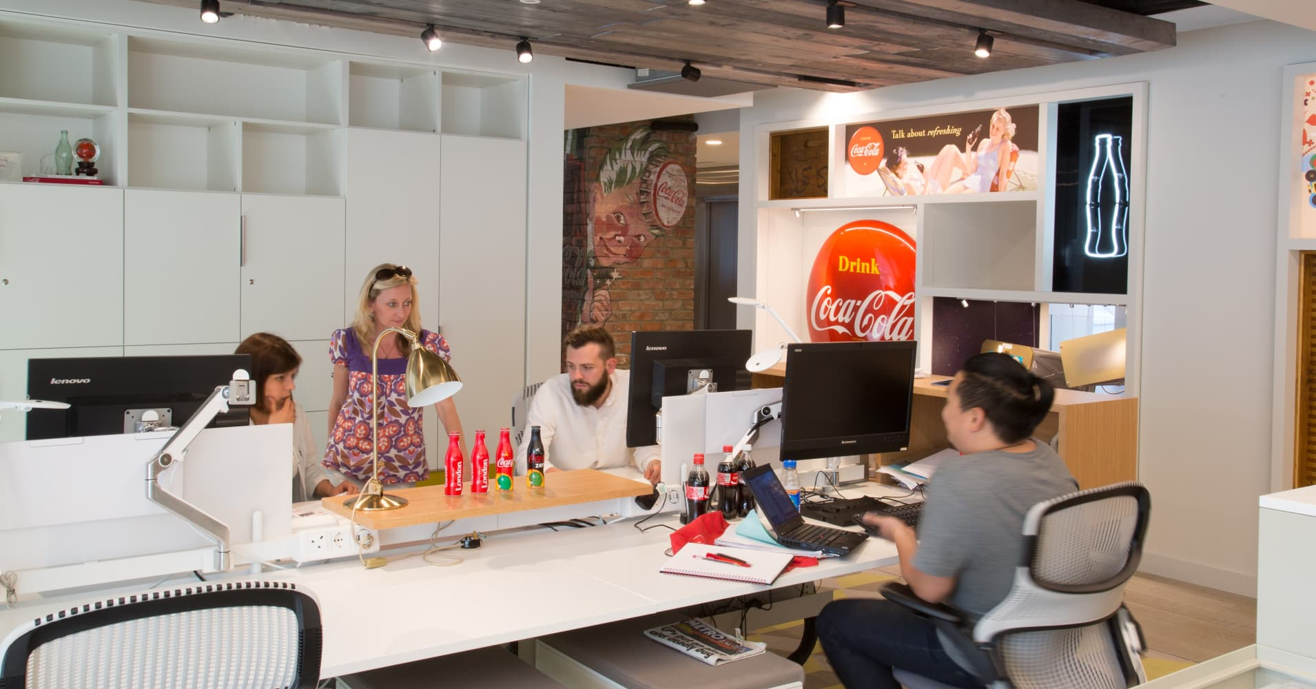 An open-office plan layout at Coca-Cola's GB HQ in London
