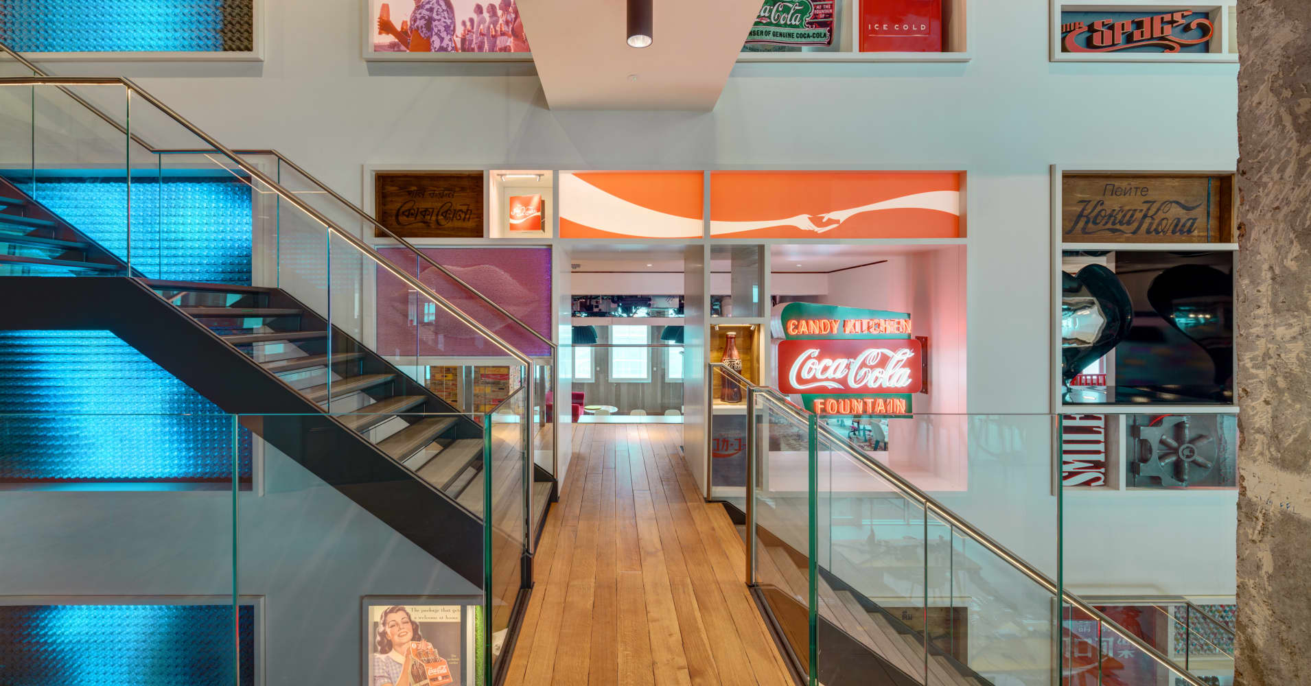 The three-storey Heritage Wall at Coca-Cola's GB HQ in London contains memorabilia from many decades — both old and new.