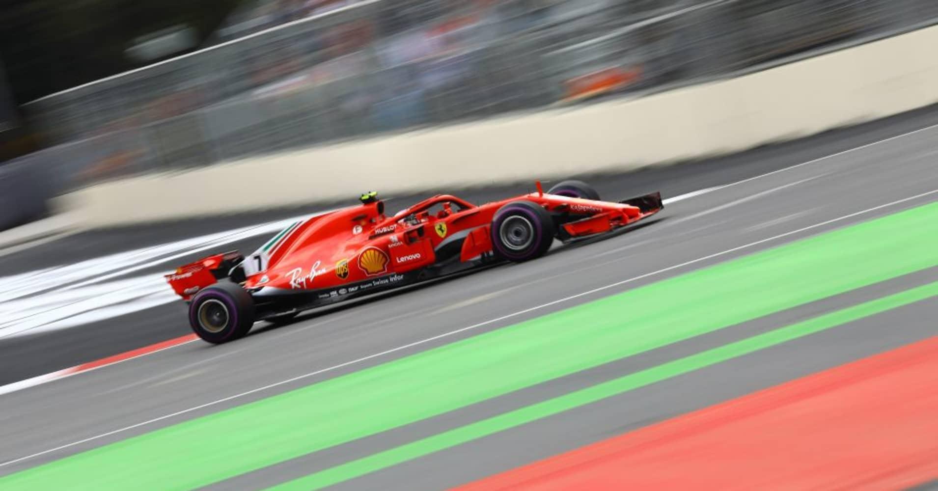 Kimi Raikkonen of Ferrari competes on track during the 4th round of Formula One World Championship Azerbaijan Grand Prix.