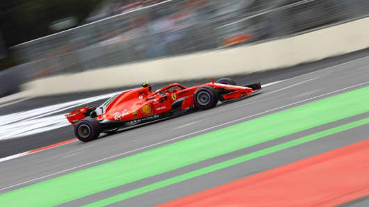 Kimi Raikkonen of Ferrari competes on track during the 4th round of Formula One World Championship Azerbaijan Grand Prix.